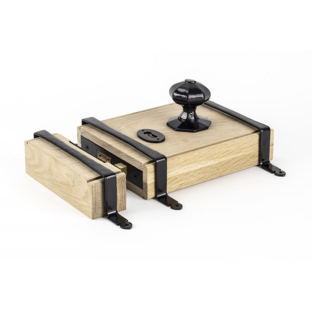 Black Oak Box Lock & Octagonal Knob Set