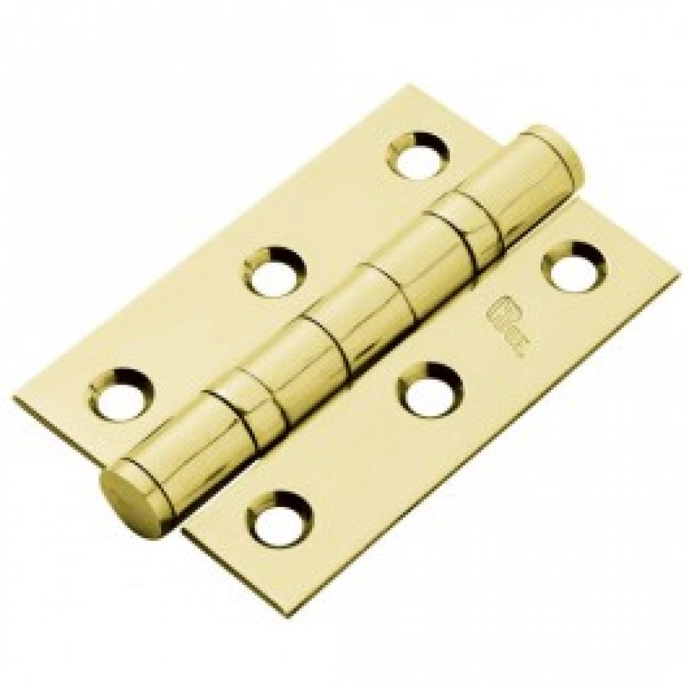 """3"""" Double Ball Bearing Butt Hinge (pair) - Polished Brass"""