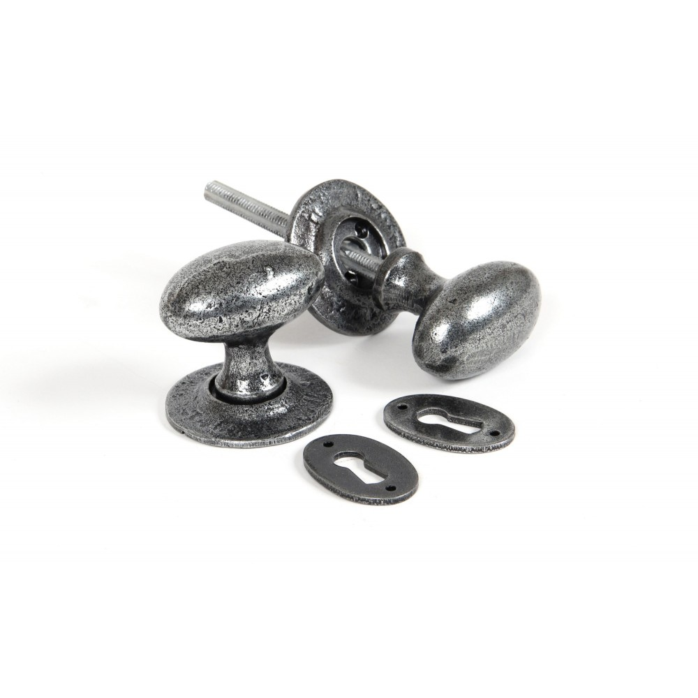 Pewter Oval Mortice/Rim Knob Set