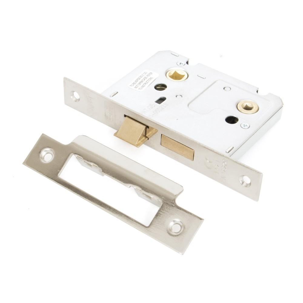 """Nickel Plated 3"""" Standard Bathroom Mortice Lock"""