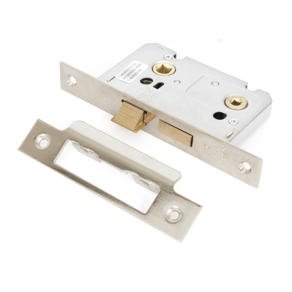 Nickel 2 1/2'' Bathroom Mortice Lock