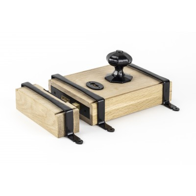 Black Oak Box Lock & Octagonal Knob Set