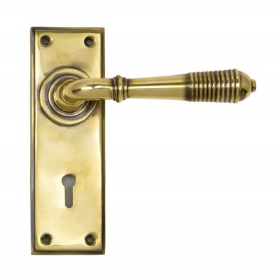 Aged Brass Reeded Lever Lock Set