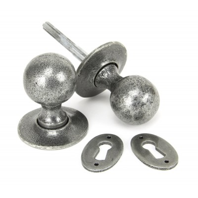 Pewter Round Mortice/Rim Knob Set