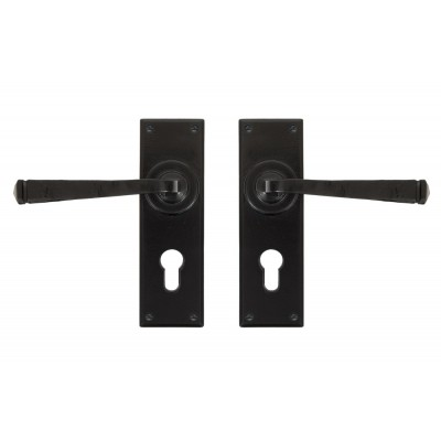 Black Avon Lever Euro Lock Set