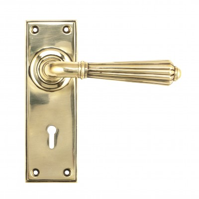 Aged Brass Hinton Lever Lock Set