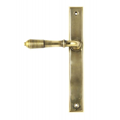 Aged Brass Reeded Slimline Lever Latch Set