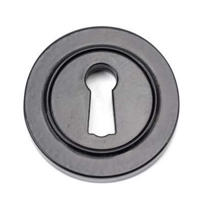 Black Round Escutcheon (Plain Rose)