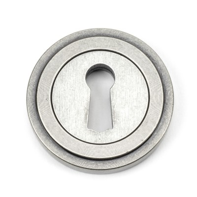 Pewter Round Escutcheon (Art Deco Rose)