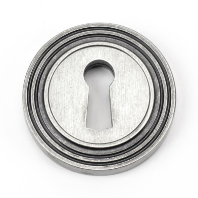 Pewter Round Escutcheon (Beehive Rose)