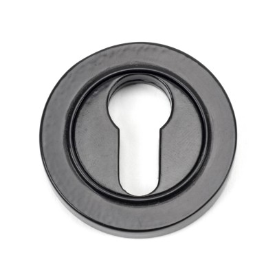 Black Round Euro Escutcheon (Plain Rose)