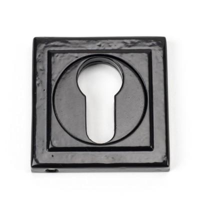 Black Round Euro Escutcheon (Square Rose)