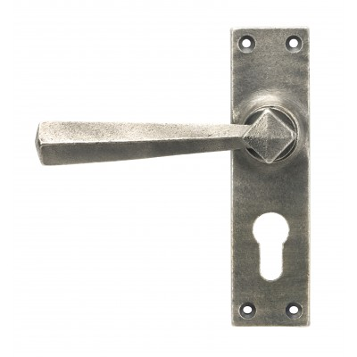 Antique Pewter Straight Lever Euro Lock Set