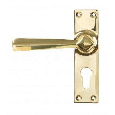 Polished Brass Straight Lever Euro Lock Set