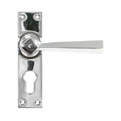 Polished Chrome Straight Lever Euro Lock Set