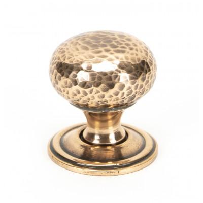 Polished Bronze Hammered Mushroom Cabinet Knob 32mm