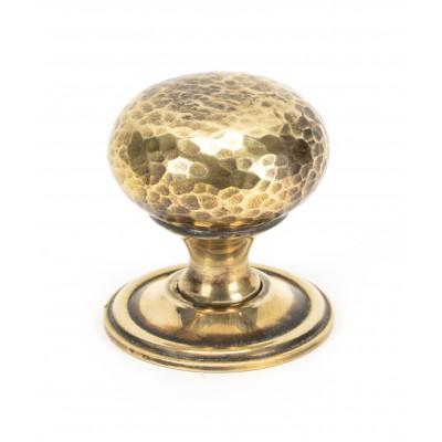 Aged Brass Hammered Mushroom Cabinet Knob 38mm