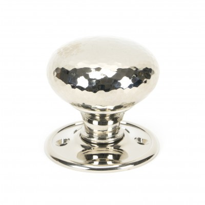 Polished Nickel Hammered Mushroom Mortice/Rim Knob Set
