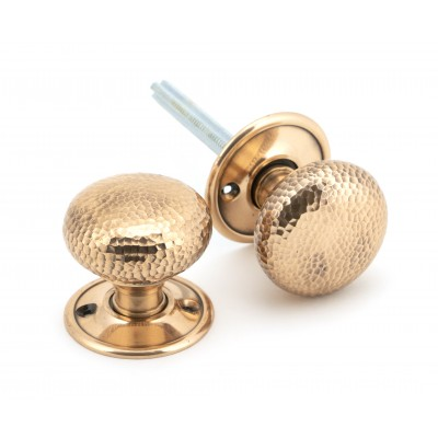 Polished Bronze Hammered Mushroom Mortice/Rim Knob Set