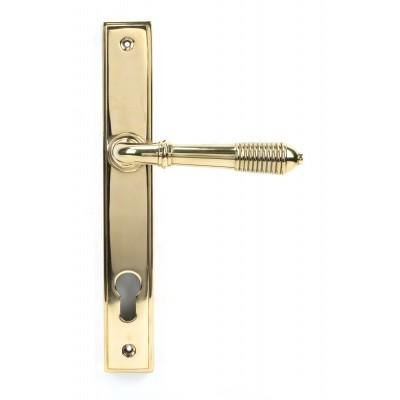 Polished Brass Reeded Slimline Lever Espag. Lock Set