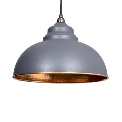 Dark Grey Hammered Copper Harborne Pendant