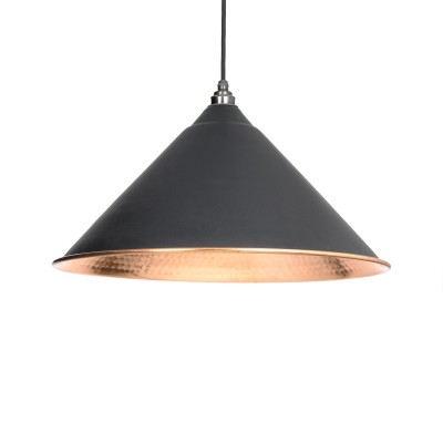 Black & Hammered Copper Hockley Pendant