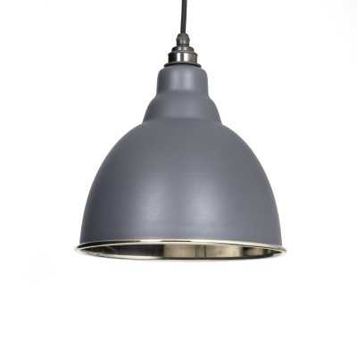 Dark Grey & Smooth Nickel Brindley Pendant
