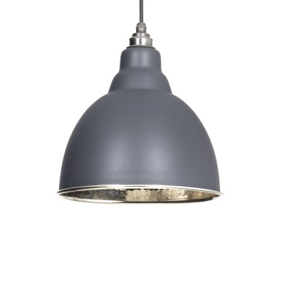 Dark Grey & Hammered Nickel Brindley Pendant