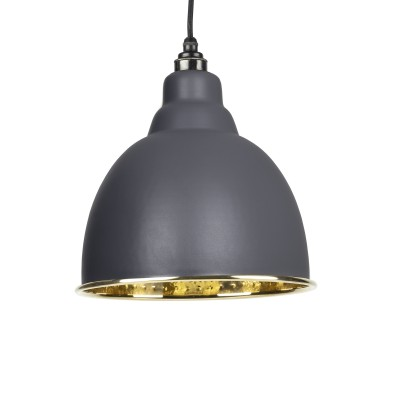 Dark Grey Hammered Brass Brindley Pendant