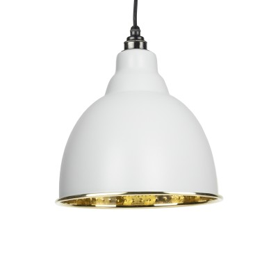 Light Grey Hammered Brass Brindley Pendant