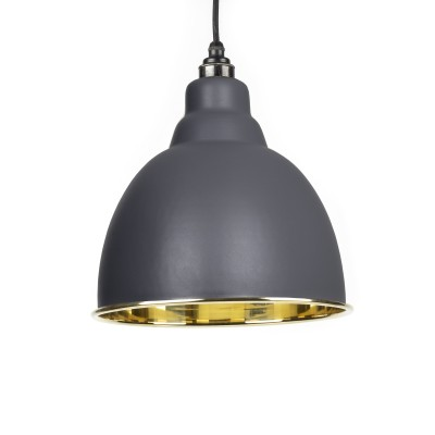 Dark Grey Smooth Brass Brindley Pendant