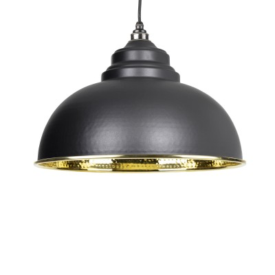Black Hammered Brass Harborne Pendant