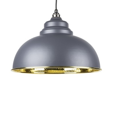 Dark Grey Hammered Brass Harborne Pendant
