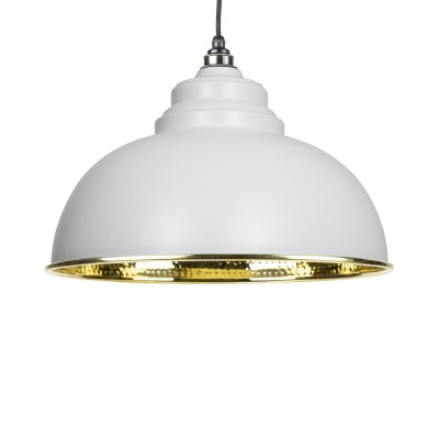 Light Grey Hammered Brass Harborne Pendant