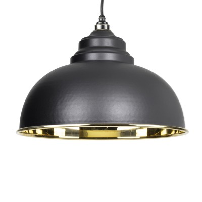 Black Smooth Brass Harborne Pendant