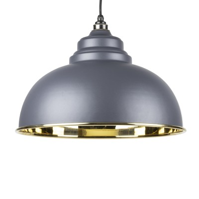Dark Grey Smooth Brass Harborne Pendant