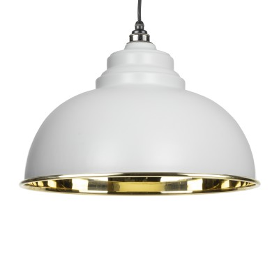 Light Grey Smooth Brass Harborne Pendant