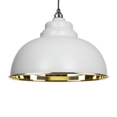 Light Grey & Smooth Brass Harborne Pendant