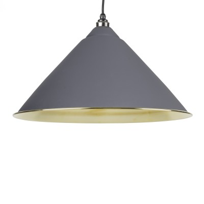 Dark Grey Smooth Brass Hockley Pendant