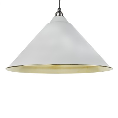 Light Grey Smooth Brass Hockley Pendant