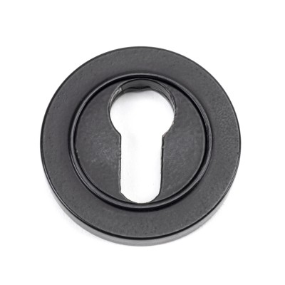 Matt Black Round Euro Escutcheon (Plain Rose)