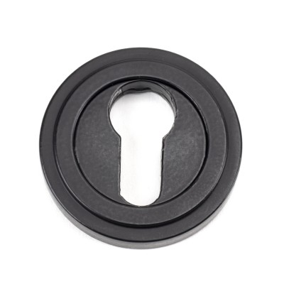 Matt Black Round Euro Escutcheon (Art Deco Rose)