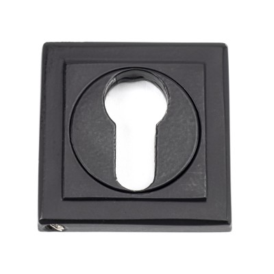 Matt Black Round Euro Escutcheon (Square Rose)