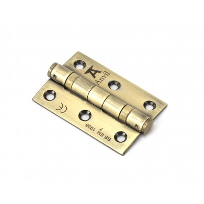 "Aged Brass 3"" Ball Bearing Butt Hinge (pair) ss"