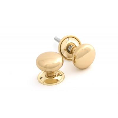 Polished Brass Mushroom Mortice/Rim Knob Set