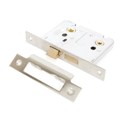 "Nickel Plated 3"" Standard Bathroom Mortice Lock"