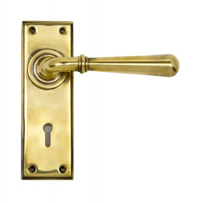 Aged Brass Newbury Lever Lock Set