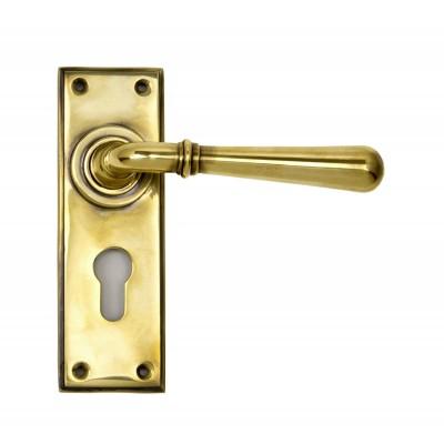 Aged Brass Newbury Lever Euro Set