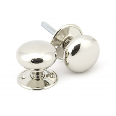Polished Nickel 57mm Mushroom Mortice/Rim Knob Set
