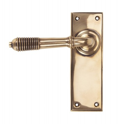 Polished Bronze Reeded Lever Latch Set